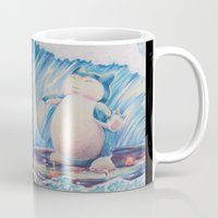 snorlax Mugs featuring Snorlax Used Surf by LaurelAnneEquineArt