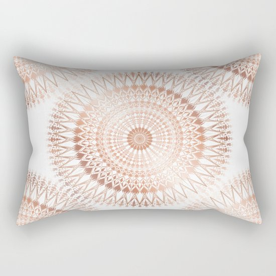 Rose Gold White Mandala Rectangular Pillow
