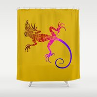 lizard Shower Curtains featuring Lizard by Rosario Curcio