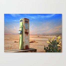 Old Gas Pump in Desert Canvas Print