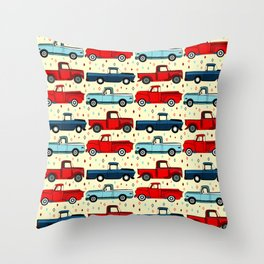Winter Vintage Trucks Throw Pillow
