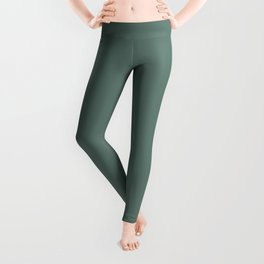 Softened Forest Green Solid Color Pairs To PPG 2021 Trending Hue Salal Leaves PPG1137-6 Leggings