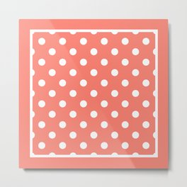Salmon Orange Polka Dots Palm Beach Preppy Metal Print