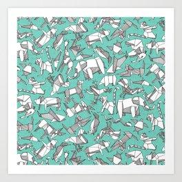 origami animal ditsy mint Art Print