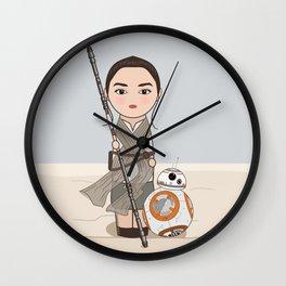 Kokeshis Rey and cute droid Wall Clock