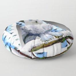 Blue-eyed Snow Owl Floor Pillow