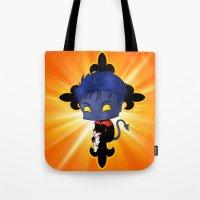 nightcrawler Tote Bags featuring Chibi Nightcrawler by artwaste