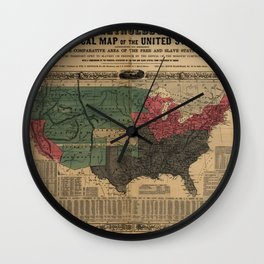 Political Map Of The United States 1856 Wall Clock