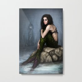 Mermaid and the Lighthouse Metal Print