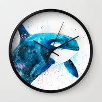 orca Wall Clocks featuring Orca  by Slaveika Aladjova