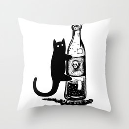 Cat and bottle Throw Pillow