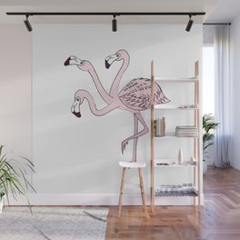 Three flamingo heads are better than one Wall Mural