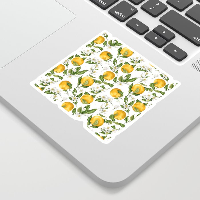 Citrus OrangeTree Branches with Flowers and Fruits Sticker