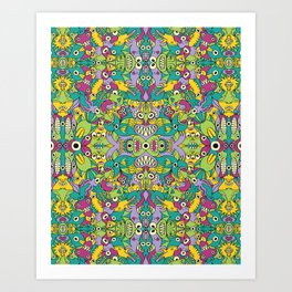 Odd creatures having fun by multiplying in a seamless pattern design Art Print