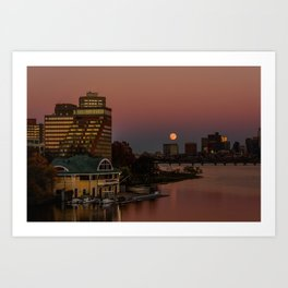 Moonrise in twiligh. Art Print