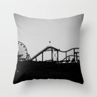 santa monica Throw Pillows featuring Santa Monica Pier by cbrocoff