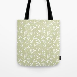 Assorted Leaf Silhouettes White on Lime Ptn Tote Bag