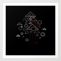 Tri.Dimension.5 Red Art Print