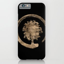 Enso Zen Circle and Tree - Gold on black iPhone Case