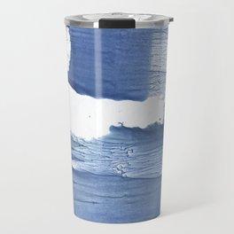 Steel blue blurred watercolor texture Travel Mug