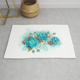 Bouquet of Turquoise Roses Rug