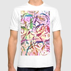 abstract roses silhouettes Mens Fitted Tee White MEDIUM