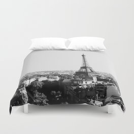 Paris City Sky // Eiffel Tower City Landscape Photography Shot from the top of Champs Elysees France Duvet Cover