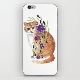 cat with flower boa iPhone Skin