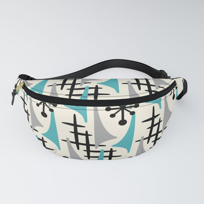 Mid Century Modern Atomic Wing Composition Blue & Grey Fanny Pack
