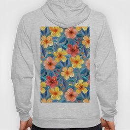 Colorful Watercolor Hibiscus on Grey Blue Hoody