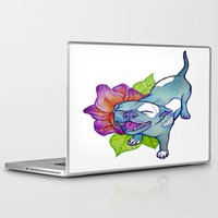 pit bull Laptop & iPad Skins featuring Happy Pit by Olivia Bonebrake