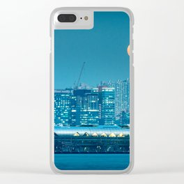 Super Moon over city skyline Clear iPhone Case