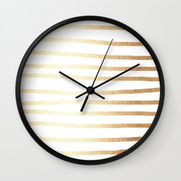 Simply Drawn Stripes Golden Copper Sun Wall Clock