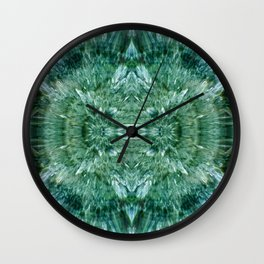 Abstract Kaleidoscope Green Mineral Crystal Texture Wall Clock