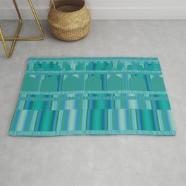 Blue Green Arches and Stripes Pattern Rug