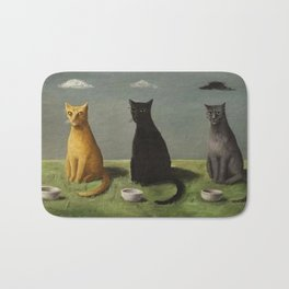 Three Cats with Clouds That Follow Them Everywhere by Gertrude Abercrombie Bath Mat