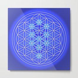 Flower Of Life - Blue Metal Print