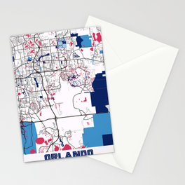 Orlando - United States MilkTea City Map Stationery Cards