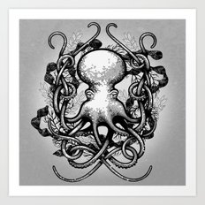 Octupus and COral (Black and White) Art Print