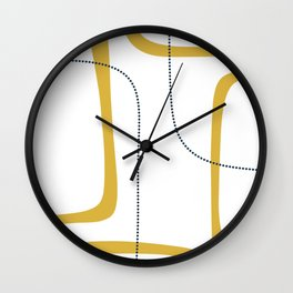 Mustard Rings Midcentury Modern Minimalist Abstract with Navy Blue and White Wall Clock