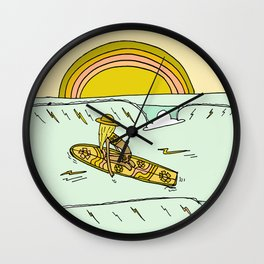 paddle on to new adventures // new year by surfy birdy Wall Clock