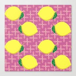 Yellow lemons on pink flower pattern Canvas Print