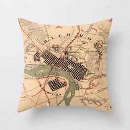 Vintage Richmond VA Rebel Defense Map (1864) Throw Pillow