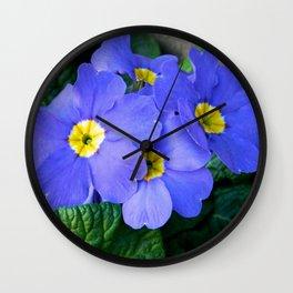 Blue Heartsease Flower Wall Clock