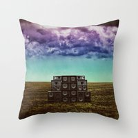 sonic Throw Pillows featuring Sonic Field by Liall Linz