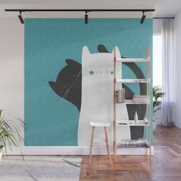 Black White Cats Wall Mural
