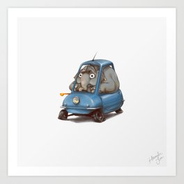 Driving Animals~ Elephant in a Peel P50 Art Print