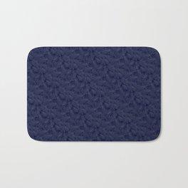 Muted '90s Fern Background Grid at Dusk – Deep Blue Bath Mat