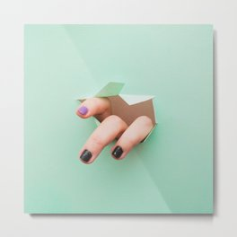 the fingers from the hole Metal Print