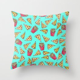 Pepperoni Pizza French Fries Foodie Watercolor Pattern Throw Pillow